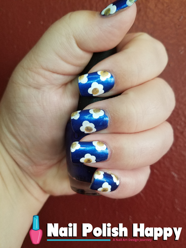Whimsy White Flowers On Navy Nail Polish Happy