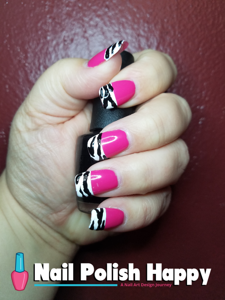 Hot Pink And Zebra Stripes Nail Polish Happy